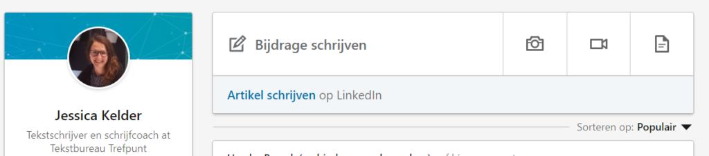 Starten bericht plaatsen op LinkedIn