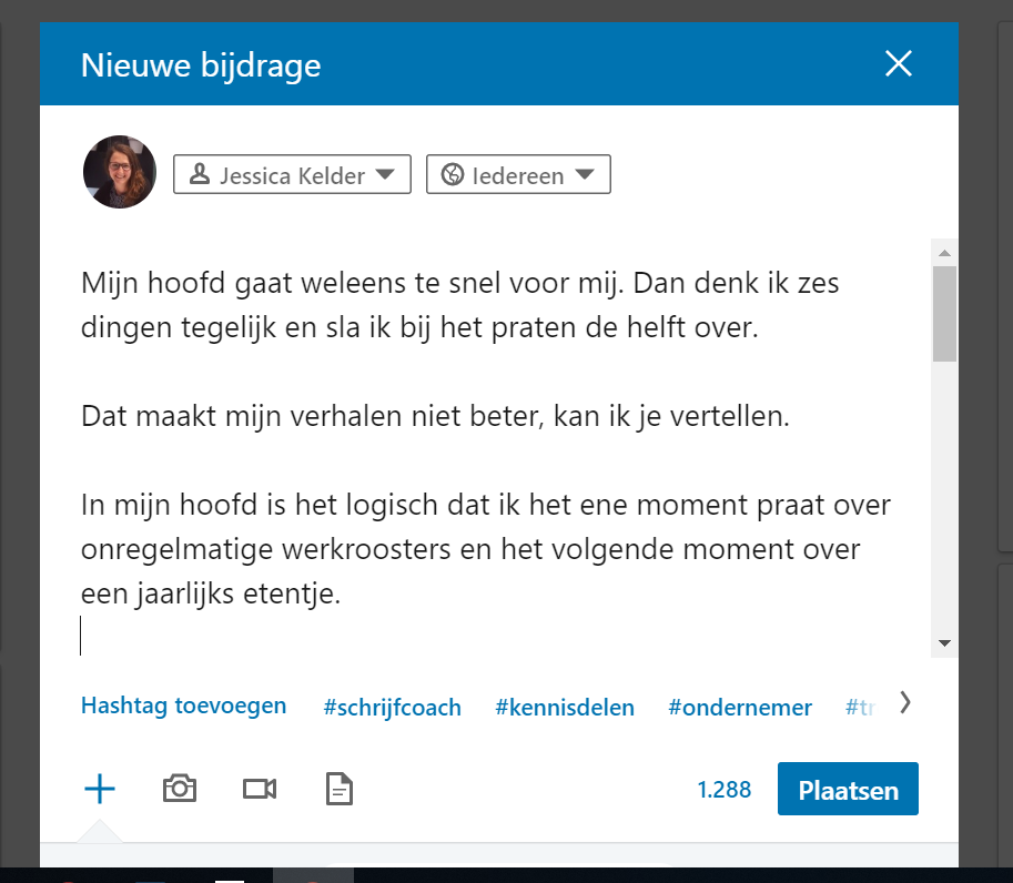 Opmaak bericht plaatsen op LinkedIn