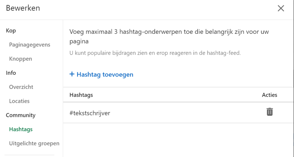 Wisselen tussen hashtags bedrijfspagina relevant netwerk LinkedIn